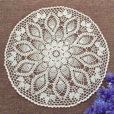 Vintage Crochet Tablecloth Round Lace Table Cloth Floral Hollow Furniture Cover