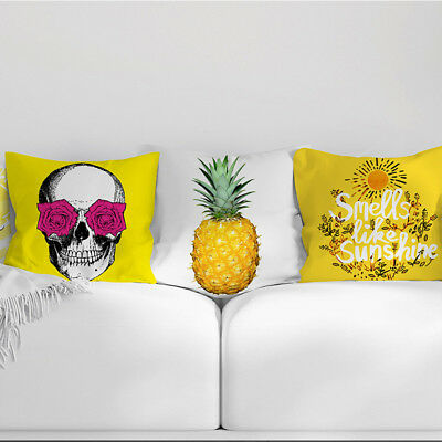1PC Yellow Decorative Throw Pillow Cover Cotton Linen Cushion Cover 18 x 18 Inch