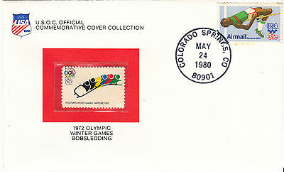 UNITED STATES 1972  Winter Olympics Cover Bob... Stamp is MUH Cover slight tone