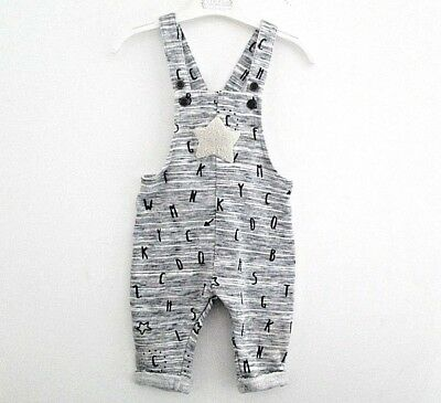 NEXT Baby Boys 6-9 M Overalls One Piese Gray Lining Winter Star Letters button