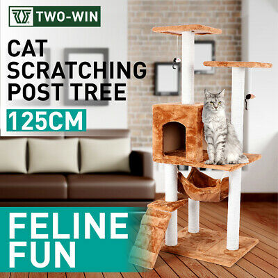 Cat Tree Scratching Post Scratcher Pole Gym House Furniture Multi Level 125cm BE