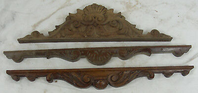 French Antique  Wood panel pediment shell