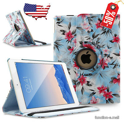 360 Rotating Stand Leather Smart Case Cover For Apple iPad Pro 9.7 Blue-Camellia