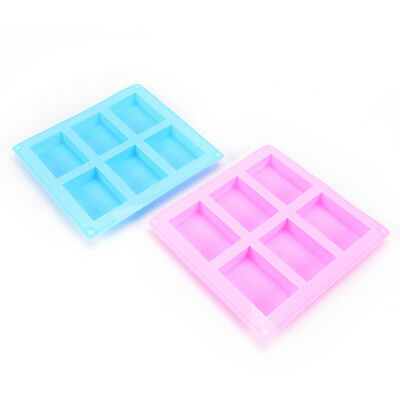 6-Cavity Silicone Rectangle Soap Cake ice Mold Mould Tray For Homemade Craft WG