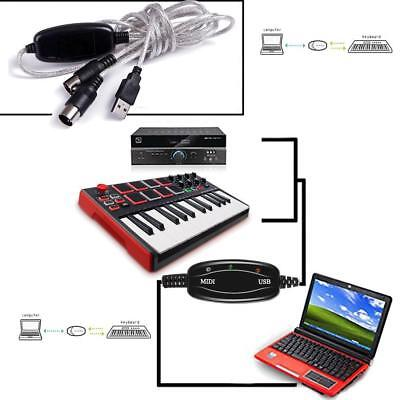 USB IN-OUT MIDI Interface Cord Converter PC to Music Keyboard Adapter Cable