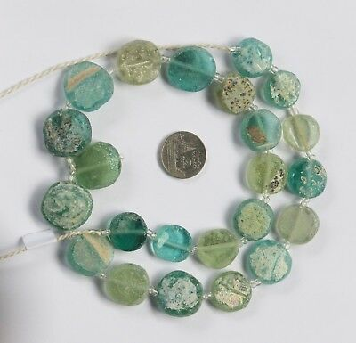 الزجاج الروماني  23 Ancient Roman Glass Old Round Beads Patina Strand Necklace