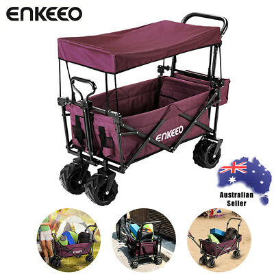 Foldable Garden Cart Trolley Trailer Collapsible Lawn Beach Farm Utility Wagon