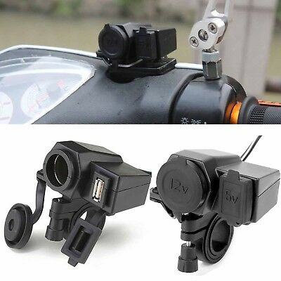 Bike Waterproof 12V Cigarette Lighter USB Power Socket Plug Charger For Phone