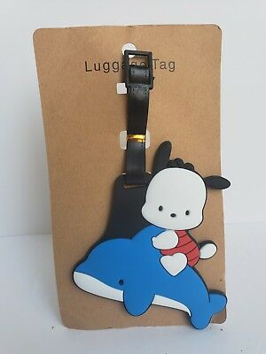 Cute Pochacco Blue Luggage Tag Card Holder ID New Kawaii Dog