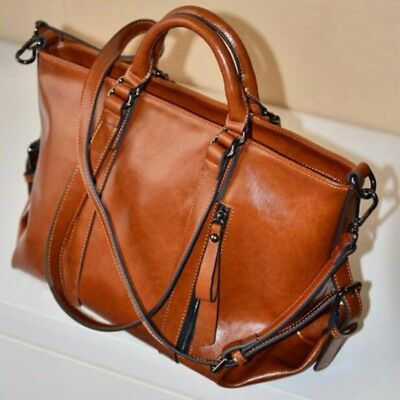 Elegent Women Handbag Lady Shoulder Bag Tote Oiled PU Leather Brown Color Hot US