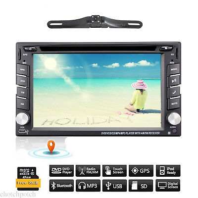 """6.2"""" GPS Navigation Double 2DIN Car Stereo DVD Player Bluetooth iPod MP3 +Camera"""