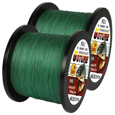 2pcs/lot 500M Braided Fishing Line 4 Strands 12-80LB Super Strong PE Green Wire