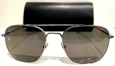 Saint Laurent SL-86 002 Sunglasses Silver Frame Grey Lenses 55 18 140 Almost New