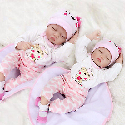 "22"" 2 doll Reborn Baby Doll Newborn Lifelike Silicone Twins Sleeping Girl boy"