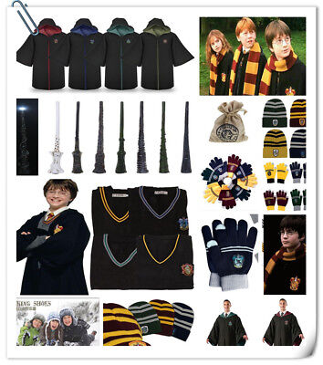Harry Potter Robe Cloak Cape Gloves Hat Tie Sweater Vest Badge Magic Wand Coin