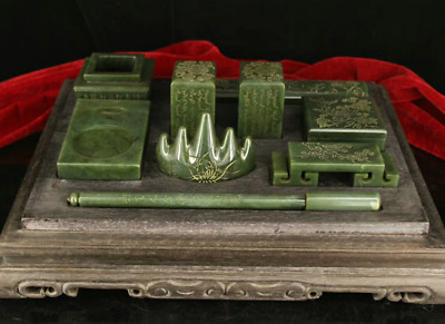 Collect Old China Natural Hetian Green Jade Handcarved Ancients Writing Tool Set