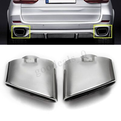 2PCS Chrome Exhaust Dual Tail Pipe Muffler Tip Stainless Steel For BMW X5 E70