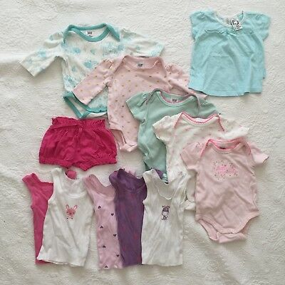 BABY GIRLS Size 000 Bundle Rompers Singlets Tops Shorts Summer Cotton