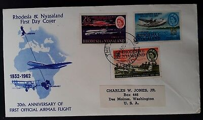 SCARCE 1962 Rhodesia & Nyasaland 30th Anniv of Airmail FDC ties set of 3 stamps