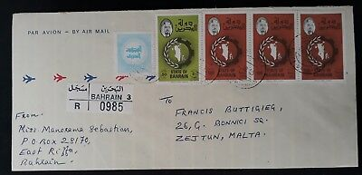 SCARCE 1985 Bahrain Airmail Registd Cover ties 4 stamps to Malta