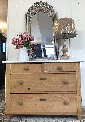 Antique Pine Marble Top Chest - Home Sweet Home Store