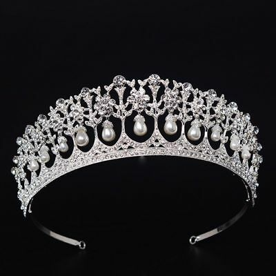 Crystal Pearl Queen Tiara Bridal Wedding Crown Luxury Headband Rhinestone Prom
