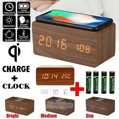 Digital Alarm LED Clock Time Calendar Thermometer Snooze Wireless Charging Pad