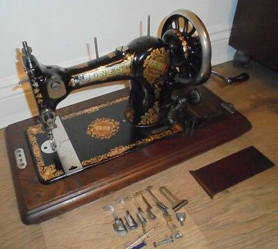 Jones Family Vintage Sewing Machine With attachments, vintage Home Decor