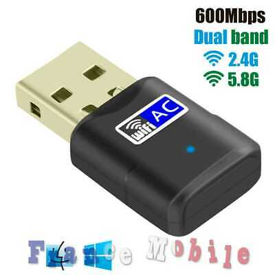 Cle Wifi USB 600Mbps Dongle Double Bande Dual Band Wireless 2.4 GHz / 5 GHz Noir