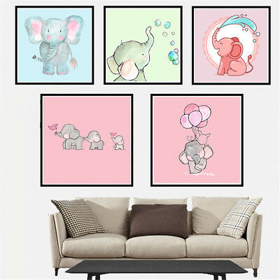 Lovely Elephant Canvas Art Painting Poster Living Room Picture Wall Home Decor