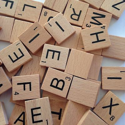 100/200 Pcs Wooden Alphabet Scrabble Tiles Black Letters&Numbers For Wood Crafts