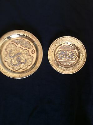 2 vintage arabic brass wall plaques with copper white metal inlay