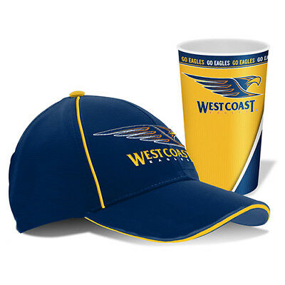 West Coast Eagles Official AFL Cap and Tumbler Gift Pack Footy Snapback Logo