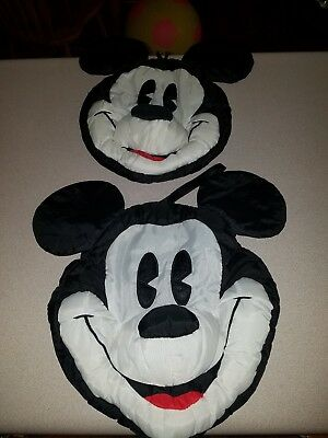 """Nylon Mickey Mouse Head Face Pillow Disney Store 14"""". Micky and Co. No Stuffing!"""