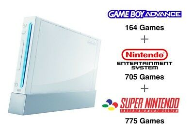 White Nintendo Wii (Console Only) with 1500+ Retro SNES Gameboy NES Games