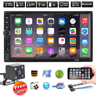 """7"""" Car Stereo Radio Double 2 DIN Bluetooth MP5 Player Touch Screen FM AUX+Camera"""