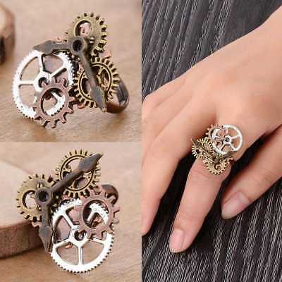 Vintage Steampunk Watch Part Gears Ring Punk Antique Copper Rings Accesso 2019