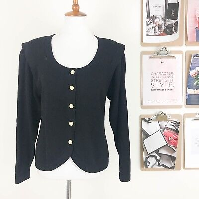 St. John Marie Gray Women's Cardigan Sweater Vintage Size 10 Black Pearl Buttons