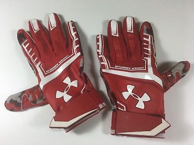 Under Armour Youth Large Baseball Batting Gloves Red/White/Camo