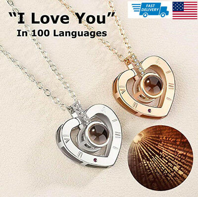 100 Languages Light Projection I Love You Heart Pendant Necklace Lover Jewelry.