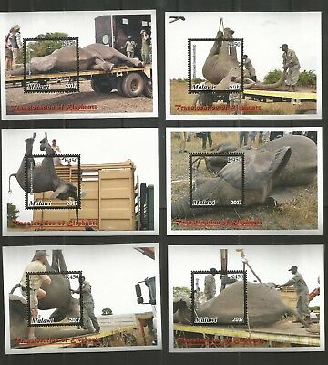Malawi 2017 Translocation Of Elephants Set Of Six Minisheets U/mm Nh Lot 1676B