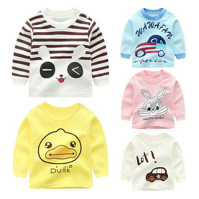 Baby Newborn Tops Cotton Cartoon Autumn Sleeve Unisex T shirt Tee Cute Clothes