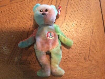 """TY Beanie Baby """"Peace"""" Bear VERY RARE 1996 Collectible With Tag Errors"""