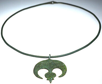 Roman Bronze Neck Torc with Lunar Amulet Pendant