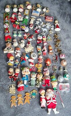 Lot Of 84 Vintage Christmas Ornaments Flocked Felt Plastic Adler Mercury Glass +