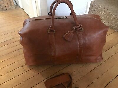 369640b56 Mulberry Tan Leather Clipper Style Holdall Overnight Weekend Travel Bag