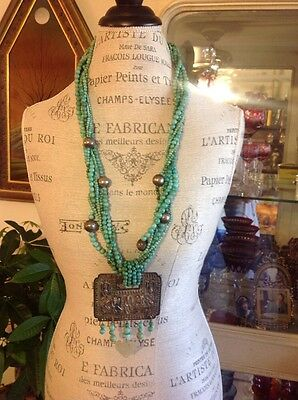 Sally Davidson Super Rare Chinese Turquoise Sterling Silver Antique Necklace