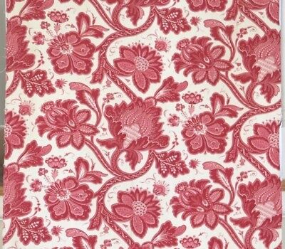 """French Antique 19thC Red & White Indienne Cotton/Linen Fabric Panel~141""""X 32""""~A"""