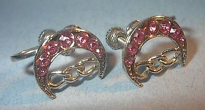Vintage Odd Fellows Daughters Of Rebekah Earrings Pink Stones Screw Type