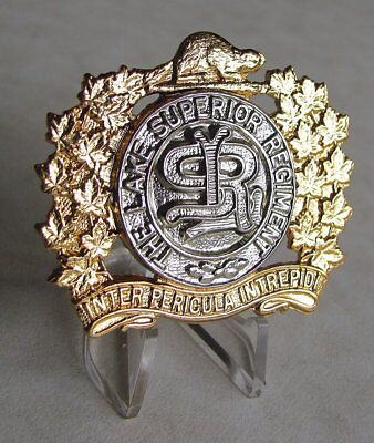 Canadian Army - Lake Superior Regiment Cap Badge WW2 WWII Re-plated